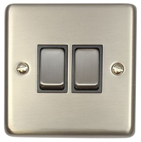 G&H CSS302 Standard Plate Brushed Steel 2 Gang 1 or 2 Way Rocker Light Switch